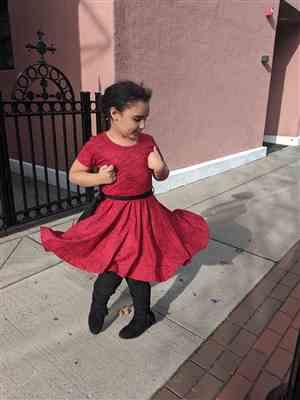 Phoebe K Farag verified customer review of Mammal Menagerie Kids Twirl Dress & Leggings Set