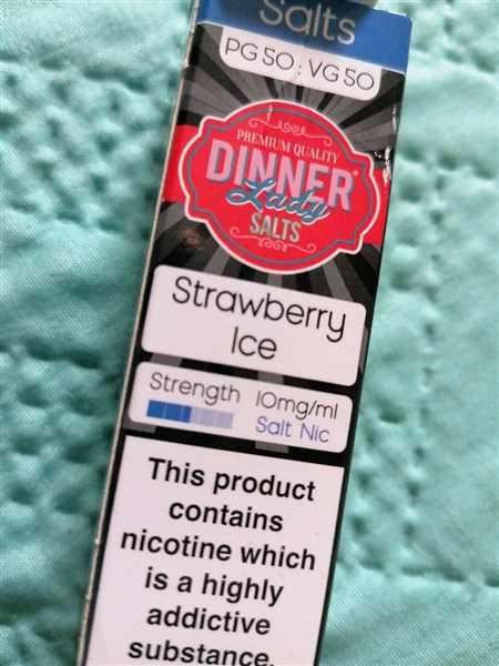 Abbie Cutler verified customer review of Strawberry Ice Salt Nic E-Liquid by Dinner Lady