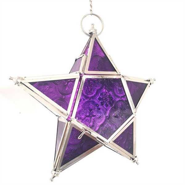 Rhonda Spencer verified customer review of Star Hanging Iron and Glass Lantern - Purple