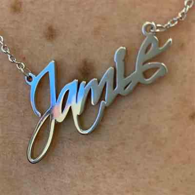 "Jamie D. verified customer review of Copper/925 Sterling Silver Personalized Classic Script Name Necklace Adjustable 16""-20"""