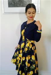 Neno E. verified customer review of Lemon and Navy V Neck Vintage Dress
