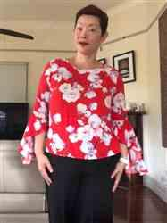 Number 9 Fashion Gorgeous Red Scoop Neck with White Magnolia and Pink Bell Sleeve Top Review