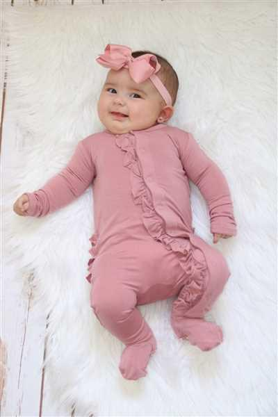 ashley crider verified customer review of Dusty Rose Footie Ruffled Snap One Piece