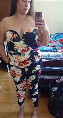 Tamara H. verified customer review of Plus Size Floral Mika 2.0 Jumpsuit - Navy