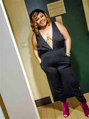 Shartasha Garner verified customer review of Plus Size Electra Caged Jumpsuit - Black