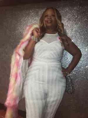 Sonji Peterson-kearney verified customer review of Plus Size Dazzling Mesh Rhinestone Jumpsuit - White