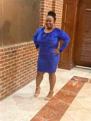 DaNeshia Moody verified customer review of Plus Size Crushed Velvet Striped Mesh Dress - Royal Blue