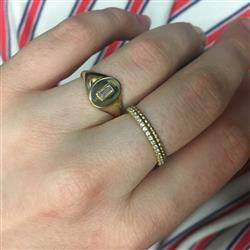Olivia R. verified customer review of 14K Gold Baguette Diamond Signet Ring