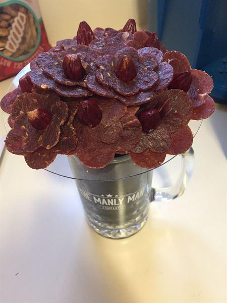 Amy Goodacre verified customer review of Beef Jerky Flower Bouquet & Beer Mug