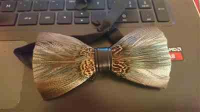 Janne H. verified customer review of Pheasant Feather Bow Tie