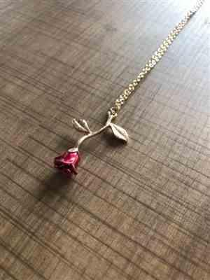 Kelsey C. verified customer review of Red Rose Necklace