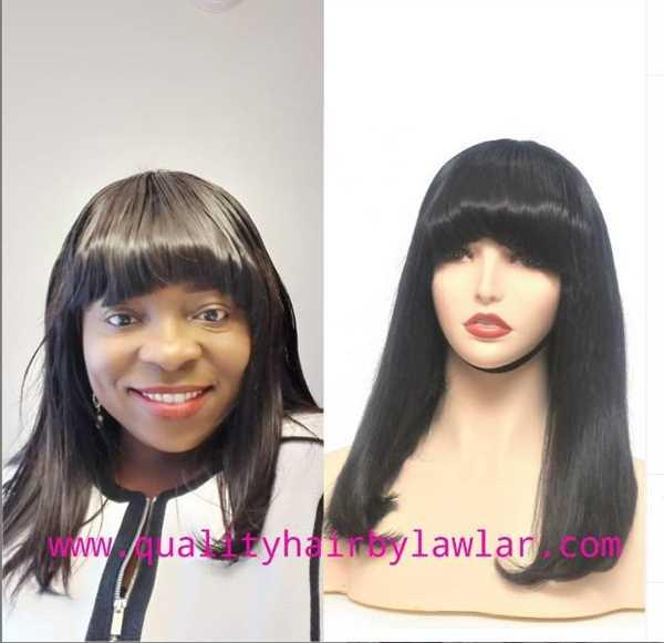Kemi Bolatito-Bello verified customer review of Vietnamese Silky Straight Human Hair Wig With Bangs