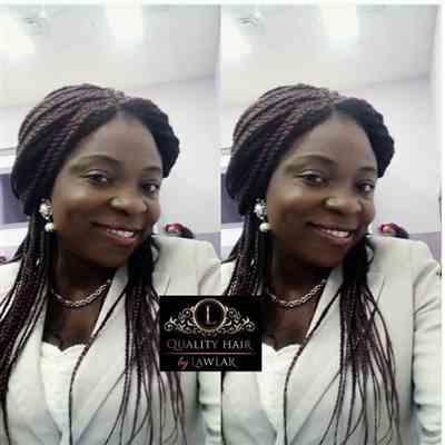 Kemibello C. verified customer review of Box Braids Fully Hand Braided Lace Wig (99j)