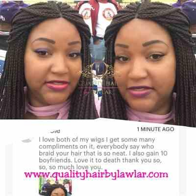 Nicole verified customer review of Box Braids Fully Hand Braided Lace Wig (99j)