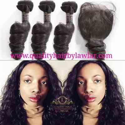 Jsuorineni verified customer review of Brazilian Loose Wave Human Hair 3pcs Bundle & Lace Closure Deal
