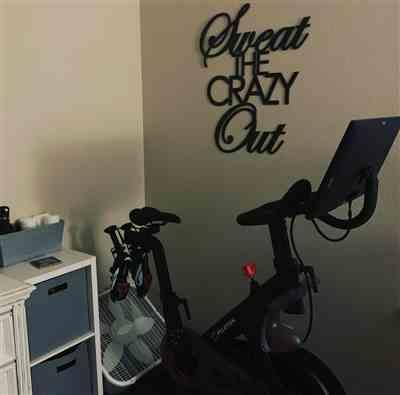 Regan M. Noveskey verified customer review of Sweat the Crazy Out -  Home Gym Sign - Yoga, Work Out, Exercise, Peloton