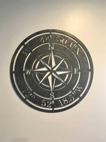 Karey Gosevski verified customer review of Compass Rose Wedding Gift Sign - Personalized Metal Nautical Wall Art - Established Date Anniversary