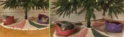 The Cat Ball Cat Canoe - Folk Christmas Pet Bed in Red and Green Review