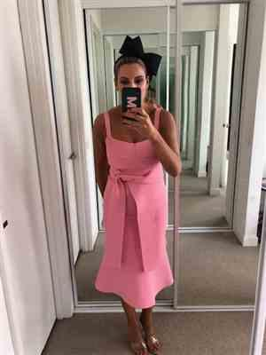 Sarah Maimone verified customer review of Crepe Knit Bralette Dress Pink