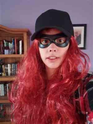 Arianna verified customer review of Super Hero / Villain face eye mask with strap - can be made in lots of colors - Great for Riddler Robin Arsenal etc