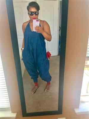 Seanta C. verified customer review of Jean Harem Jumpsuit By Buddha Pants®