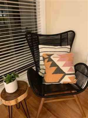 Lynn C. verified customer review of Woven Wool Charcoal Stripe 20 Inch Pillow