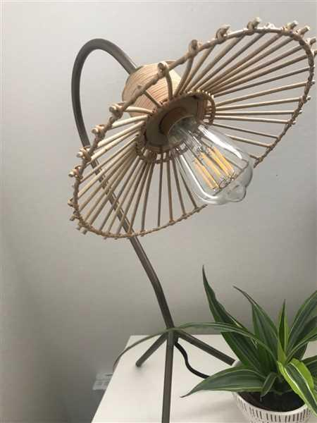 Holistic Habitat  Antique Brass Finish Umbrella Lamp with Rattan Shade Review