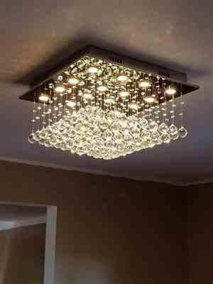 server verified customer review of Square Rain Drop Crystal Chandelier Flush Mount Ceiling Light