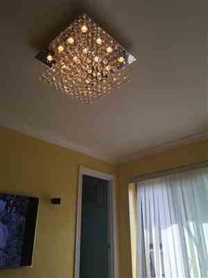 Richard verified customer review of Square Rain Drop Crystal Chandelier Flush Mount Ceiling Light