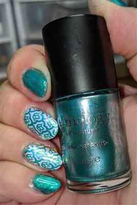 Maniology Soiree All Day: Sequins (B320) - Metallic Teal Stamping Polish Review