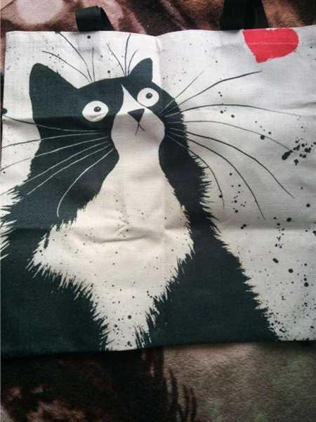A***n verified customer review of Cat Print Linen Tote Bag
