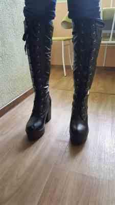 Boots N Bags Heaven Knee High Lace Up Black Gothic Platform Boots Review