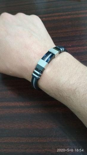 Galaxy Teez Punk Style Stainless Steel Silicone Black Wristband Bracelet Review