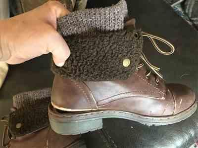 Heather  verified customer review of Coolway - Bring/Betta Leather Knit Sweater Cuff Ankle Boots in More Colors