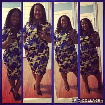 Dermel Warren verified customer review of Meria African Print Midi Pencil Dress with Stretch (Blue/Yellow/Black) -Clearance