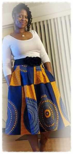 Natalie verified customer review of Amsa African Print Midi Skirt (Yellow Blue Circles)- Clearance