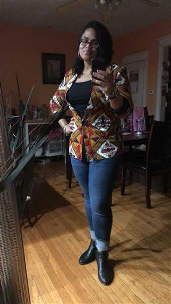 Teraysa Franklin verified customer review of Uche African Print Shawl Collar Long Blazer (Gold/White Diamonds)