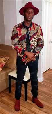 Sam verified customer review of Kofi Unisex African Print Bomber Jacket (Maroon Multipattern)
