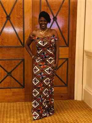 Sharla Pringle verified customer review of Nala African Print Formal Gown (Gold/White Diamonds)- Clearance
