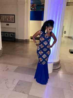 Janea  verified customer review of Amaka African Print Asymmetric Bodycon Dress (Blue Tan Diamonds)
