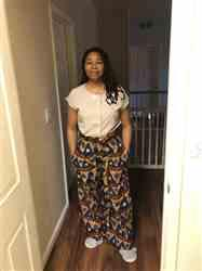 Samantha B. verified customer review of Lina African Print Wide Leg Envelope Pant (Blue Pyramids)
