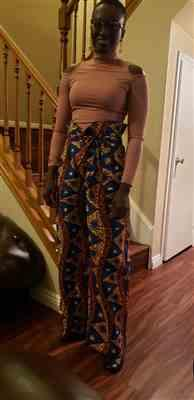 Salwa verified customer review of Lina African Print Wide Leg Envelope Pant (Blue Pyramids)