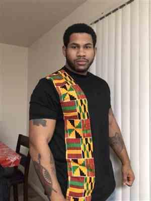 Mike Lett verified customer review of Sadik African Print Short Sleeve T-shirt (Yellow Green Kente)