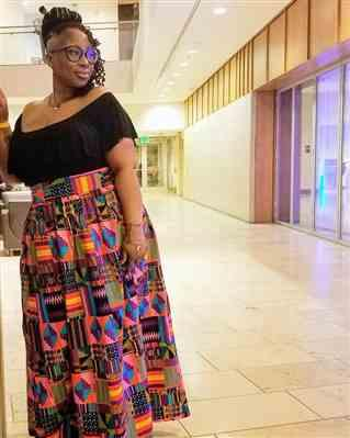 Elizabeth  verified customer review of Emi Women's African Print Maxi Skirt with Slit (Purple Pink Kente) - Clearance