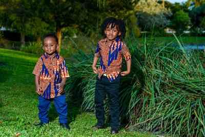 Junie B verified customer review of Chuks African Print Boys' Button-up Shirt (Orange Navy) - Clearance