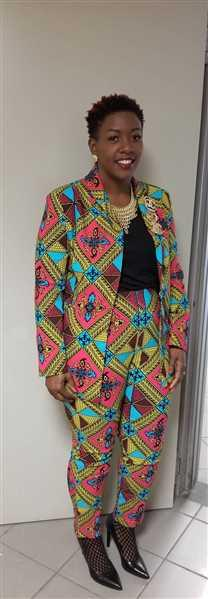 D'IYANU Safina African Print Stretch  Fitted High-Waisted Pants (Pink Blue Diamonds) Review