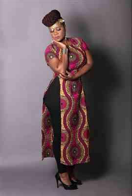 Tina verified customer review of Eshe African Print Stretch Maxi Tee with Side Slits (Pink Golden Circles)