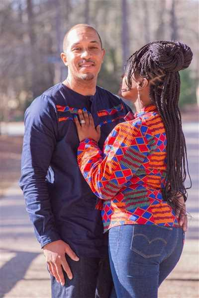 Miava Cole verified customer review of Emeka Men's Long Sleeve Traditional Shirt (Blue Red Kente)