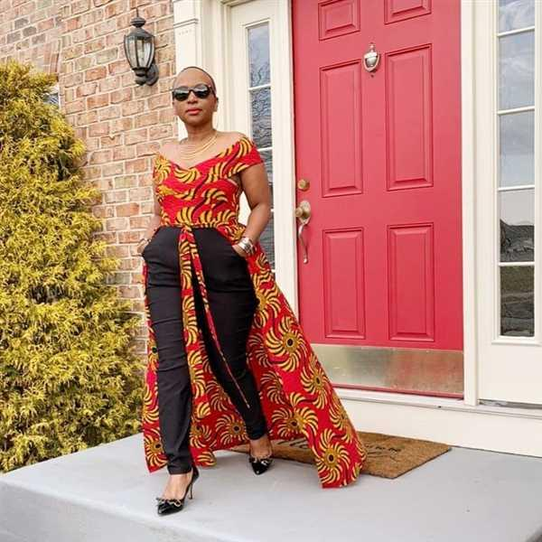 D'IYANU Afiya African Print Jumpsuit With Detachable Skirt (Yellow Red Swirls) Review