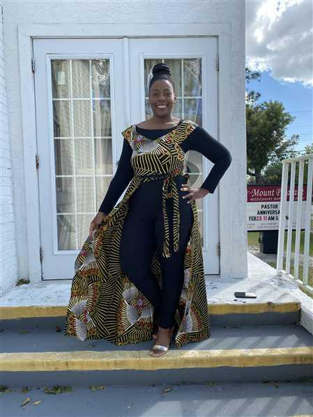 D'IYANU Afiya African Print Jumpsuit With Detachable Skirt (Yellow Red Fans) Review